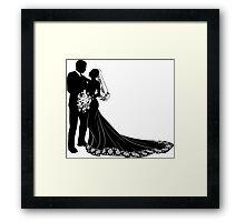 Bride & Groom Silhouette Framed Print