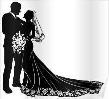 Bride & Groom Silhouette Poster