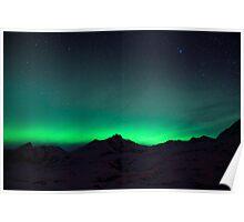 northern lights over mountain ridge Poster