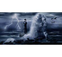 Light House Storm Photographic Print