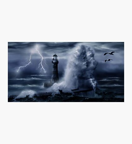 Light House Storm Photographic Print