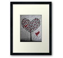 Romantic design of birds and a heart tree Framed Print