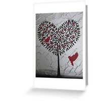 Romantic design of birds and a heart tree Greeting Card