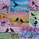 watercolor and acrylic collage - birds and blossoms by cathyjacobs