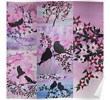 Patchwork of watercolour and acrylic Poster