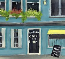 Blue Honey Bee cafe acrylic painting by Melissa Goza