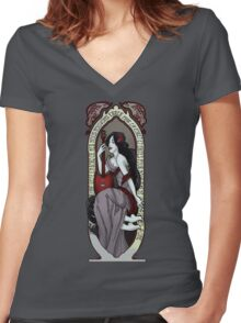 Adventure Time Art Nouveau-Marceline Women's Fitted V-Neck T-Shirt