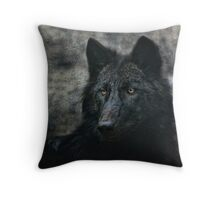 the black wolf Throw Pillow