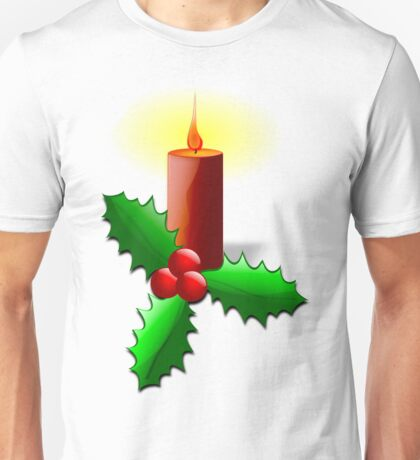 Advent Candle with Holly Unisex T-Shirt