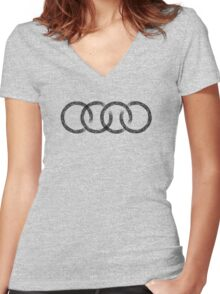 Audi logo marks white Women's Fitted V-Neck T-Shirt