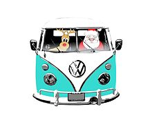 VW Camper Santa Father Christmas Aqua by splashgti
