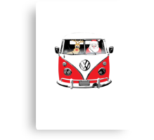 VW Camper Santa Father Christmas Red Canvas Print