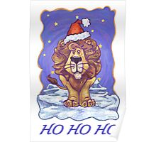 Lion Christmas Card Poster