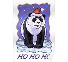 Panda Bear Christmas Card Poster