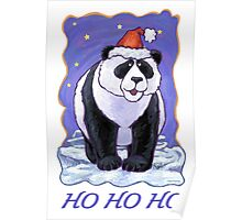 Panda Bear Christmas Card Poster