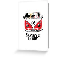 VW Camper Santa Father Christmas On Way Red Greeting Card