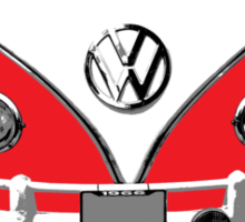 VW Camper Santa Father Christmas On Way Red Sticker