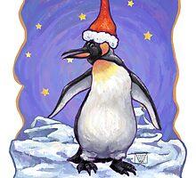 Penguin Christmas Card by Traci VanWagoner