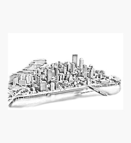 Pittsburgh Aerial Silvery Sketch Photographic Print