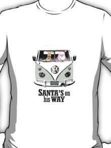VW Camper Santa Father Christmas On Way Pale Green T-Shirt