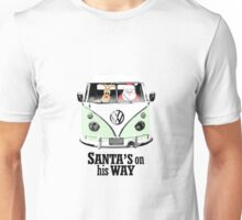 VW Camper Santa Father Christmas On Way Pale Green Unisex T-Shirt