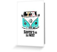 VW Camper Santa Father Christmas On Way Aqua Greeting Card