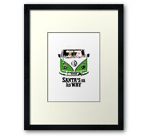 VW Camper Santa Father Christmas On Way Dark Green Framed Print