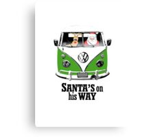 VW Camper Santa Father Christmas On Way Dark Green Canvas Print