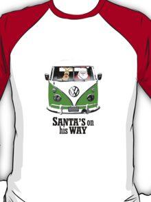 VW Camper Santa Father Christmas On Way Dark Green T-Shirt