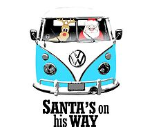 VW Camper Santa Father Christmas On Way Bright Blue by splashgti