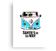 VW Camper Santa Father Christmas On Way Bright Blue Canvas Print