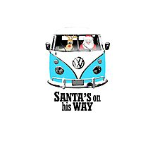VW Camper Santa Father Christmas On Way Bright Blue Photographic Print