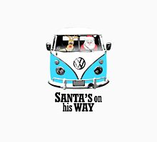 VW Camper Santa Father Christmas On Way Bright Blue T-Shirt