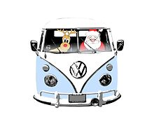 VW Camper Santa Father Christmas Pale Blue by splashgti