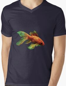 Low Poly Fancy Goldfish Mens V-Neck T-Shirt
