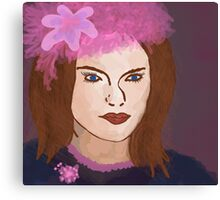 With The Pink Flower Hat Canvas Print