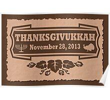 Thanksgiving meets Hanukkah Thanksgivukkah Print Poster