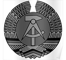 COAT OF ARM DDR EAST GERMANY black and white Poster
