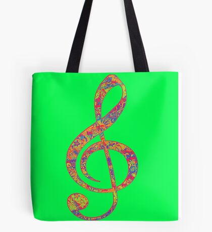Psychedelic Music Symbol Tote Bag