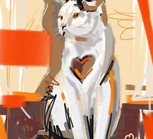 Cat big heart by Go van Kampen