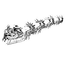 Reindeer Pulling Santa's Sleigh. Old Fashioned Christmas Image. Photographic Print