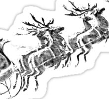 Reindeer Pulling Santa's Sleigh. Old Fashioned Christmas Image. Sticker