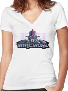 Machine Retro 1980's Cartoon Design Women's Fitted V-Neck T-Shirt