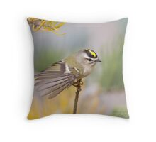 Golden-crowned Kinglet in Autum Throw Pillow