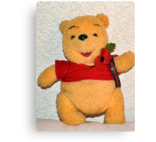 Pooh Bear Wears His Poppy With Pride Canvas Print