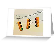 Traffic lights and sunset Greeting Card