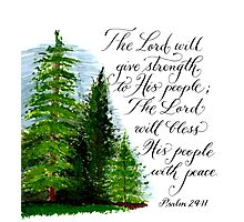 Inspirational handwritten peace verse with trees Photographic Print