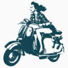 Lady on Scooter With Puppy - Green by nfocusdesign