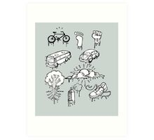 Urban mobility and transport drawings Art Print