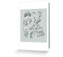Urban mobility and transport drawings Greeting Card